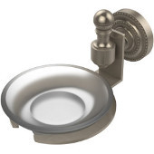 Retro-Dot Collection Soap Dish with Glass Holder, Premium Finish, Antique Pewter