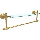 Retro-Dot Collection 18'' Glass Shelf w/Towel Bar, Standard Finish, Polished Brass