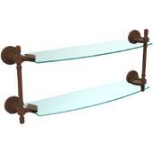 Retro-Dot Collection 18'' Double Glass Shelf, Premium Finish, Rustic Bronze