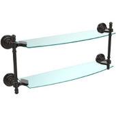 Retro-Dot Collection 18'' Double Glass Shelf, Premium Finish, Oil Rubbed Bronze