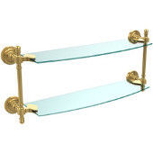 Retro Dot Collection 18 Inch Two Tiered Glass Shelf, Unlacquered Brass