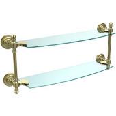 Retro-Dot Collection 18'' Double Glass Shelf, Premium Finish, Satin Brass