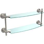 Retro-Dot Collection 18'' Double Glass Shelf, Premium Finish, Satin Nickel