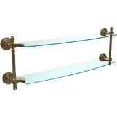 Retro-Dot Collection 24'' Double Glass Shelf, Premium Finish, Brushed Bronze