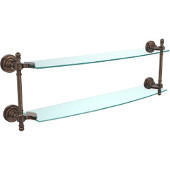 Retro-Dot Collection 24'' Double Glass Shelf, Premium Finish, Venetian Bronze