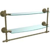 Retro-Dot Collection 18'' Double Glass Shelf w/Towel Bar, Premium Finish, Antique Brass
