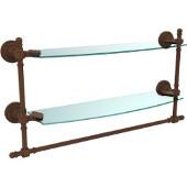 Retro-Dot Collection 18'' Double Glass Shelf w/Towel Bar, Premium Finish, Rustic Bronze