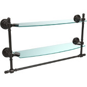 Retro-Dot Collection 18'' Double Glass Shelf w/Towel Bar, Premium Finish, Oil Rubbed Bronze
