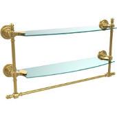 Retro-Dot Collection 18'' Double Glass Shelf w/Towel Bar, Standard Finish, Polished Brass