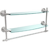 Retro-Dot Collection 18'' Double Glass Shelf w/Towel Bar, Standard Finish, Polished Chrome