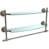 Retro-Dot Collection 18'' Double Glass Shelf w/Towel Bar, Premium Finish, Antique Pewter