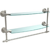 Retro-Dot Collection 18'' Double Glass Shelf w/Towel Bar, Premium Finish, Polished Nickel