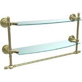 Retro-Dot Collection 18'' Double Glass Shelf w/Towel Bar, Premium Finish, Satin Brass