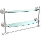 Retro-Dot Collection 18'' Double Glass Shelf w/Towel Bar, Premium Finish, Satin Chrome