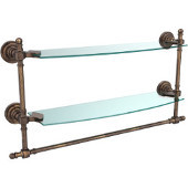 Retro-Dot Collection 18'' Double Glass Shelf w/Towel Bar, Premium Finish, Venetian Bronze