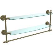 Retro-Dot Collection 24'' Double Glass Shelf w/Towel Bar, Premium Finish, Antique Brass