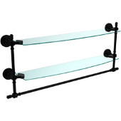 Retro Dot Collection 24 Inch Two Tiered Glass Shelf with Integrated Towel Bar, Matte Black