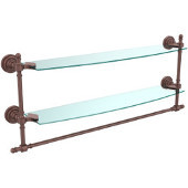 Retro-Dot Collection 24'' Double Glass Shelf w/Towel Bar, Premium Finish, Antique Copper