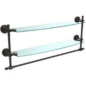 Retro-Dot Collection 24'' Double Glass Shelf w/Towel Bar, Premium Finish, Oil Rubbed Bronze