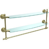 Retro-Dot Collection 24'' Double Glass Shelf w/Towel Bar, Premium Finish, Satin Brass