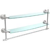 Retro-Dot Collection 24'' Double Glass Shelf w/Towel Bar, Premium Finish, Satin Chrome