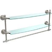 Retro-Dot Collection 24'' Double Glass Shelf w/Towel Bar, Premium Finish, Satin Nickel