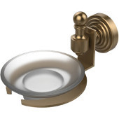 Retro-Wave Collection Soap Dish w/Glass Liner, Premium Finish, Brushed Bronze