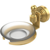 Retro-Wave Collection Wall Mounted Soap Dish, Unlacquered Brass