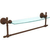 Retro-Wave Collection 18'' Glass Shelf w/Towel Bar, Premium Finish, Rustic Bronze
