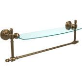 Retro-Wave Collection 18'' Glass Shelf w/Towel Bar, Premium Finish, Brushed Bronze