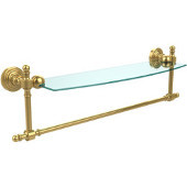 Retro Wave Collection 18 Inch Glass Vanity Shelf with Integrated Towel Bar, Unlacquered Brass