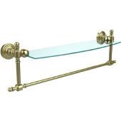 Retro-Wave Collection 18'' Glass Shelf w/Towel Bar, Premium Finish, Satin Brass