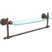 Retro-Wave Collection 18'' Glass Shelf w/Towel Bar, Premium Finish, Venetian Bronze
