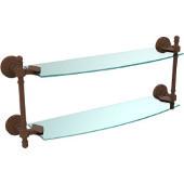 Retro-Wave Collection 18'' Double Glass Shelf, Premium Finish, Rustic Bronze