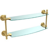 Retro Wave Collection 18 Inch Two Tiered Glass Shelf, Unlacquered Brass