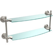 Retro-Wave Collection 18'' Double Glass Shelf, Premium Finish, Satin Nickel