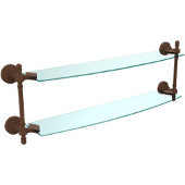 Retro-Wave Collection 24'' Double Glass Shelf, Premium Finish, Rustic Bronze