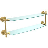 Retro-Wave Collection 24'' Double Glass Shelf, Standard Finish, Polished Brass