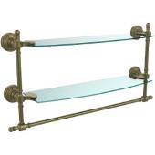 Retro-Wave Collection 18'' Double Glass Shelf w/Towel Bar, Premium Finish, Antique Brass