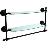 Retro Wave Collection 18 Inch Two Tiered Glass Shelf with Integrated Towel Bar, Matte Black
