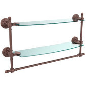 Retro-Wave Collection 18'' Double Glass Shelf w/Towel Bar, Premium Finish, Antique Copper