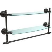 Retro-Wave Collection 18'' Double Glass Shelf w/Towel Bar, Premium Finish, Oil Rubbed Bronze