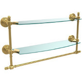 Retro-Wave Collection 18'' Double Glass Shelf w/Towel Bar, Standard Finish, Polished Brass