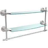 Retro-Wave Collection 18'' Double Glass Shelf w/Towel Bar, Standard Finish, Polished Chrome