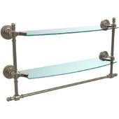 Retro-Wave Collection 18'' Double Glass Shelf w/Towel Bar, Premium Finish, Antique Pewter