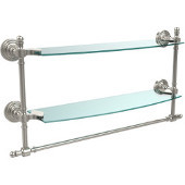 Retro-Wave Collection 18'' Double Glass Shelf w/Towel Bar, Premium Finish, Polished Nickel