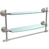 Retro-Wave Collection 18'' Double Glass Shelf w/Towel Bar, Premium Finish, Satin Nickel