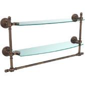 Retro-Wave Collection 18'' Double Glass Shelf w/Towel Bar, Premium Finish, Venetian Bronze
