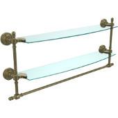 Retro-Wave Collection 24'' Double Glass Shelf w/Towel Bar, Premium Finish, Antique Brass