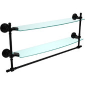 Retro Wave Collection 24 Inch Two Tiered Glass Shelf with Integrated Towel Bar, Matte Black